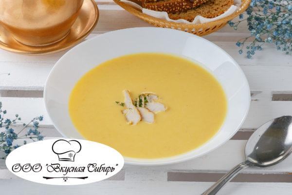 Сырный крем суп с кусочками куриного филе - 186